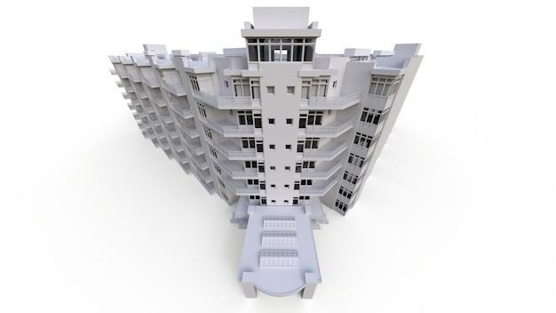 透明なメガネと白い色のマンションモデル。中庭のあるアパート。 3dレンダリング。 Premium写真