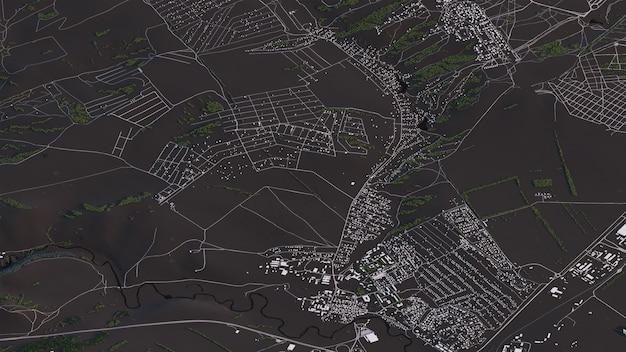 Карта красноярска в 3d изометрии пейзаж дорог и зданий Premium Фотографии