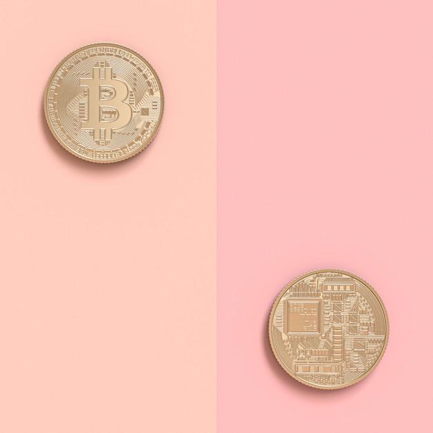 3d визуализация двух биткойн монет в двухстороннем Premium Фотографии