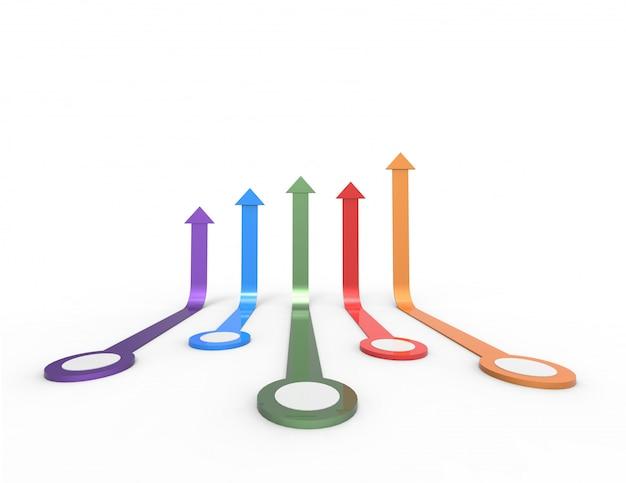 Красочная стрела. растущая бизнес-концепция. 3d-рендеринг. Premium Фотографии