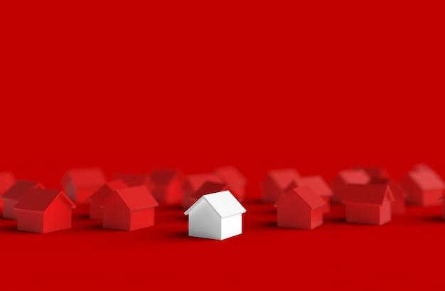 Группа затуманенное дом, изолированных на красном фоне. 3d иллюстрация Premium Фотографии