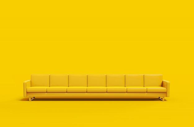 黄色の背景に分離された非常に長い黄色の革のソファ。 3dレンダリング Premium写真