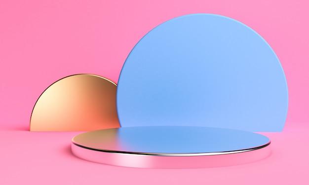 Минималистская абстрактная предпосылка, примитивные геометрические диаграммы подиума, пастельные цвета, 3d представляют. Premium Фотографии