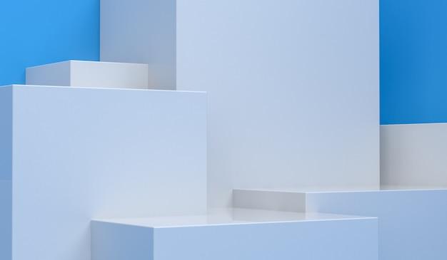 原始的な幾何学的図形、3dレンダリング、広告商品の表彰台 Premium写真