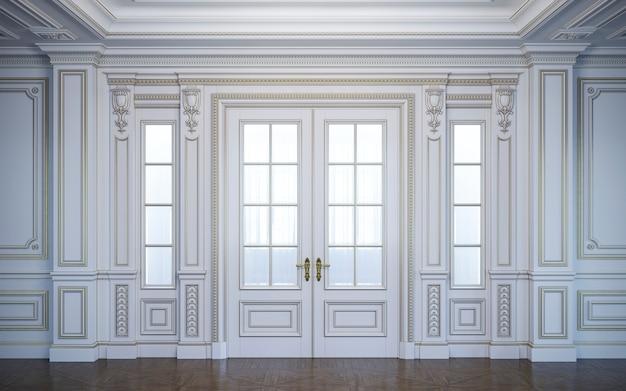 金メッキを施したクラシカルなスタイルの白い壁パネル。 3dレンダリング Premium写真