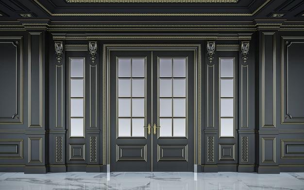 金メッキを施したクラシカルなスタイルの黒い壁パネル。 3dレンダリング Premium写真