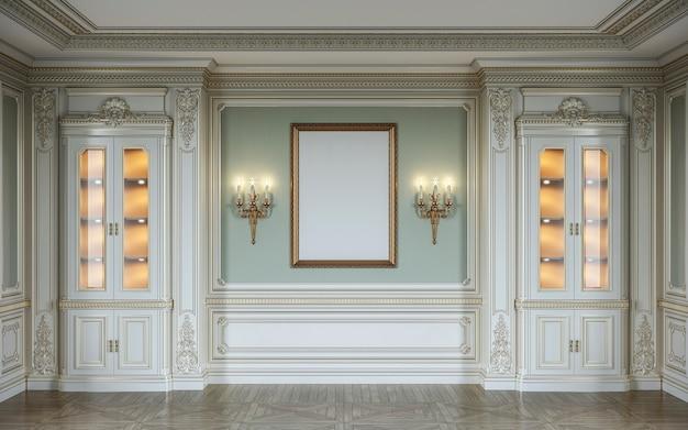 木製の壁パネル、ショーケース、壁取り付け用燭台、フレーム付きのオリーブ色のクラシックインテリア。 3dレンダリング Premium写真