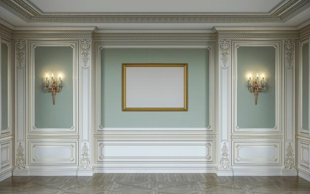 木製の壁パネル、壁取り付け用燭台、フレーム、ニッチのあるオリーブ色の豪華なインテリア。 3dレンダリング Premium写真