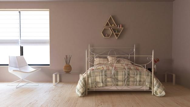 3d現代的なベッドルームのインテリア 無料写真