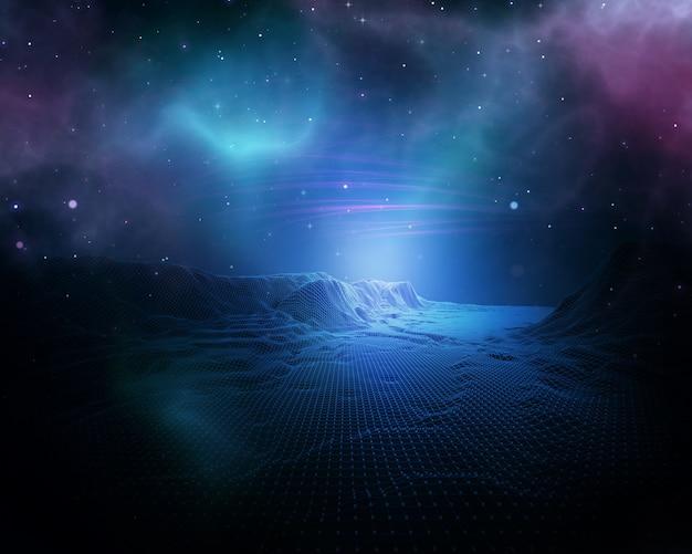 3d абстрактный космический фон с каркасным ландшафтом Бесплатные Фотографии