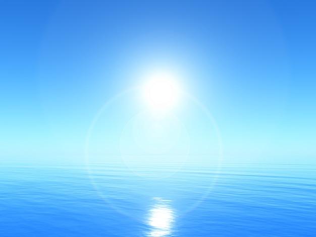 3d спокойный океан пейзаж с ярким голубым небом Бесплатные Фотографии