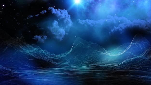 3d цифровой пейзаж на фоне вымышленного космического неба Бесплатные Фотографии