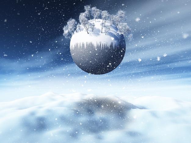 3d рождественский снежный пейзаж с зимними деревьями на земном шаре Бесплатные Фотографии
