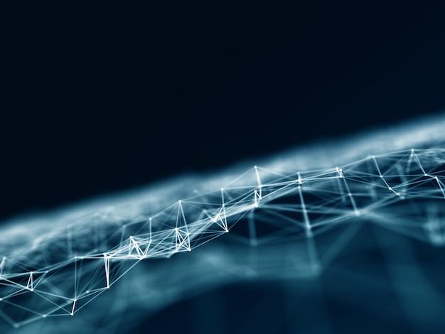 低ポリ接続線とドットを使用した3d接続の背景 無料写真