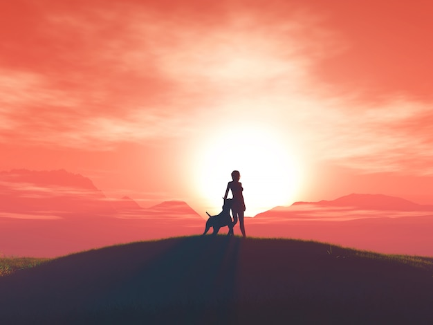 3d женщина и ее собака на фоне заката Бесплатные Фотографии