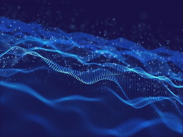 3d фон движения потока с цифровыми частицами Бесплатные Фотографии