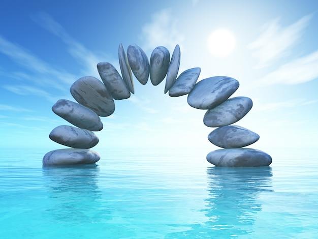 熱帯の海に石が形成された3d風景 無料写真
