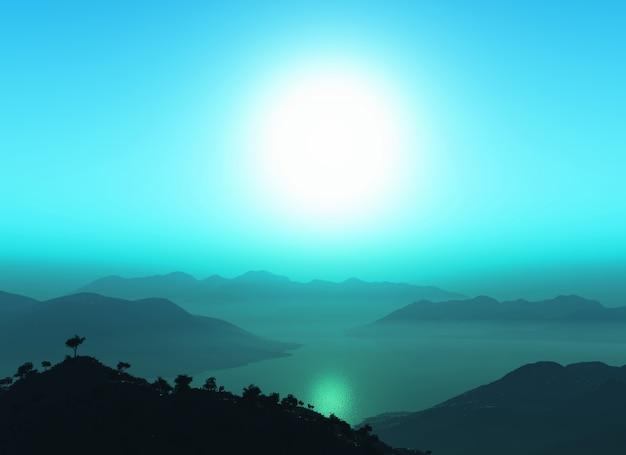 3d гора против закатного неба Бесплатные Фотографии