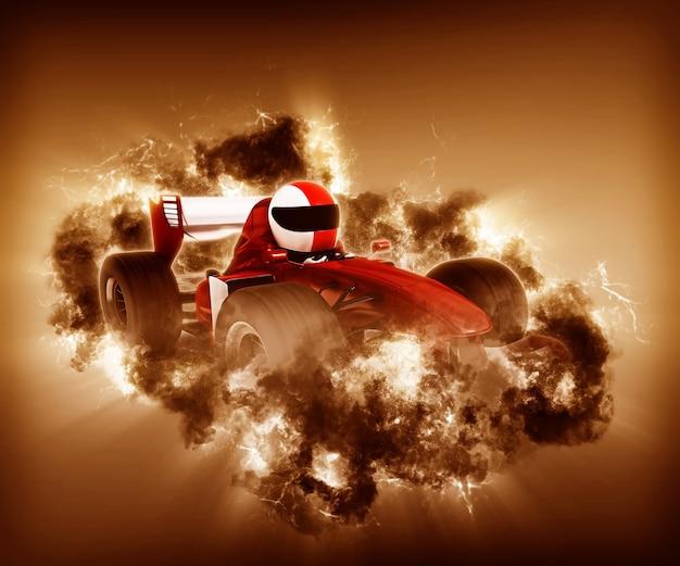煙と3dレーシングカー 無料写真