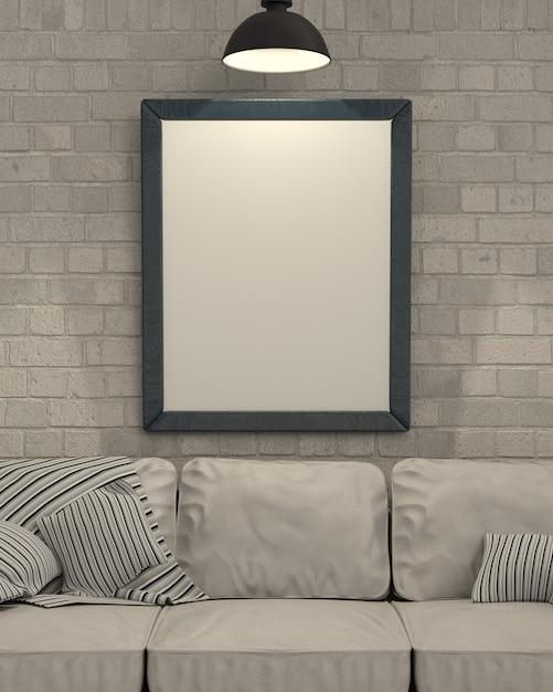壁に空のピクチャフレームのレンダリング3dは 無料写真