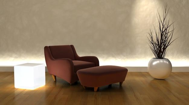モダンな雰囲気の中で現代的なアームチェアとオットマンのレンダリング3dは 無料写真