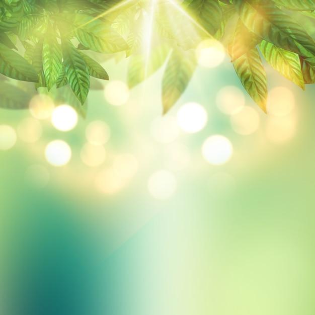 晴れた空を背景に葉のレンダリング3d 無料写真