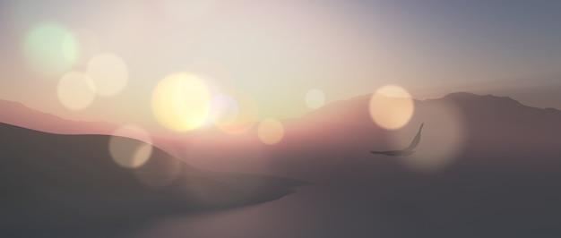 3dは、ヴィンテージの効果で空気を通って飛ぶ鷲とワイドスクリーンの風景のレンダリング 無料写真