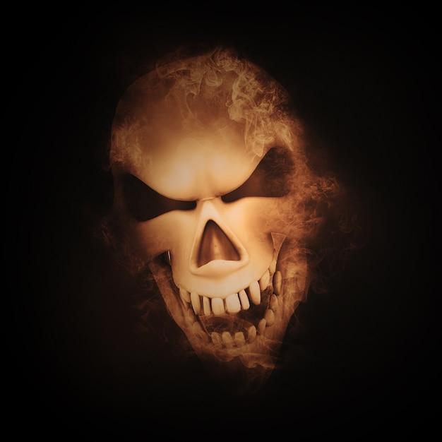 3d визуализации черепа с эффектом дыма Бесплатные Фотографии