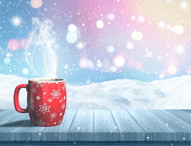 雪景色に対して木製のテーブルの上にクリスマスマグのレンダリング3d 無料写真