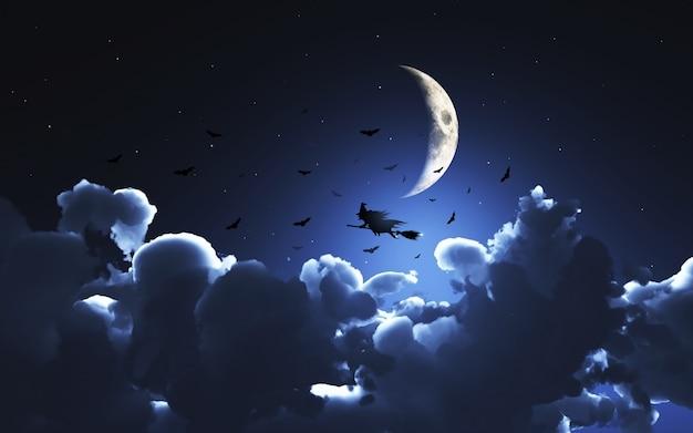 3d-изображение ведьмы, пролетающие над луной над облаками Бесплатные Фотографии