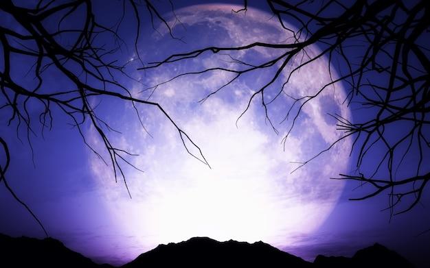 3d визуализации ландшафта хэллоуин с луной Бесплатные Фотографии