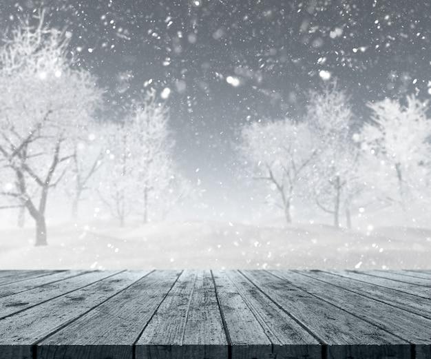 3dは、冬の風景に外を見て、木製のテーブルのレンダリング 無料写真