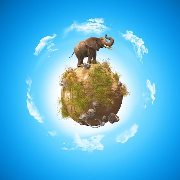 岩と草と地球上の象との概念的な画像のレンダリング3d 無料写真