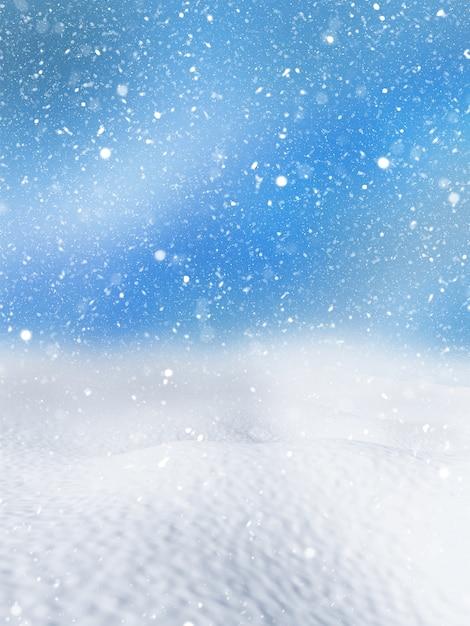 クリスマス雪の背景のレンダリング3d 無料写真