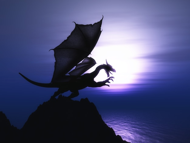 3d визуализации фантазии дракона на скале против заката океана Бесплатные Фотографии