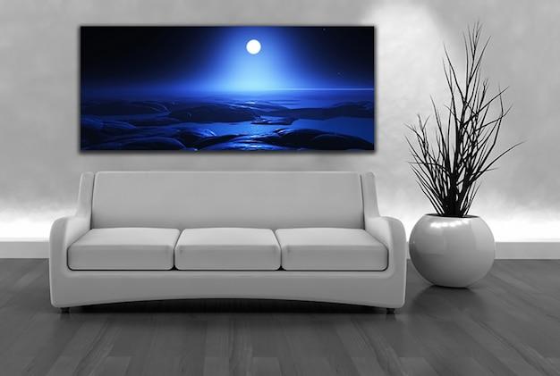 3d визуализации диван и лунная ландшафтных холст на стене Бесплатные Фотографии