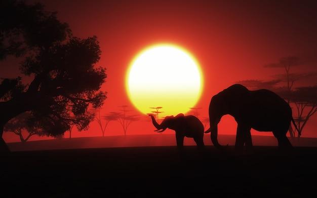 日没で象とアフリカの風景のレンダリング3d 無料写真