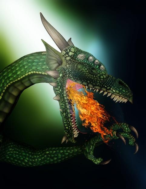 3d визуализации огнедышащих дракона фантазии Бесплатные Фотографии