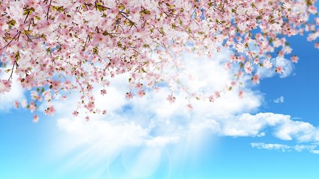 青い晴れた空に桜のレンダリング3d 無料写真