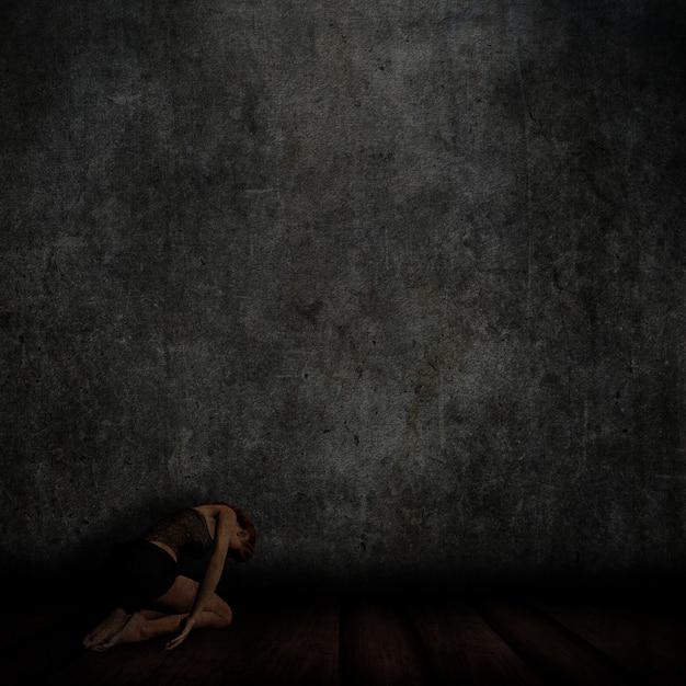 3dは、女性が床にひざまずいてコンクリートの壁、木製の床とグランジインテリアのレンダリング 無料写真