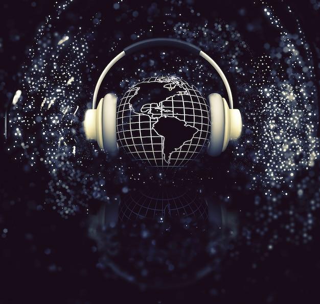 輝きの背景上のヘッドフォンと地球のレンダリング3d 無料写真