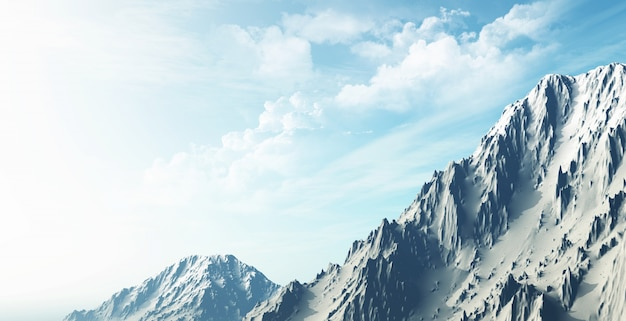 雪山の風景の3dレンダリング 無料写真