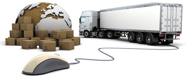 3d визуализации отслеживания заказов на грузовые перевозки в интернете Бесплатные Фотографии