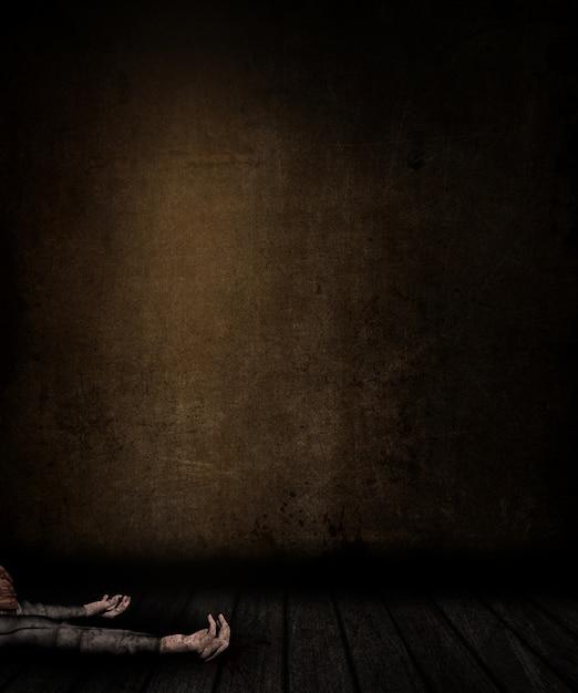 染色された壁と床と女性は床に置くと、グランルームインテリアの3dレンダリング 無料写真