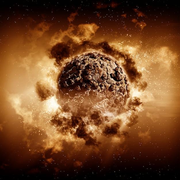 嵐の惑星シーンの3dレンダリング 無料写真