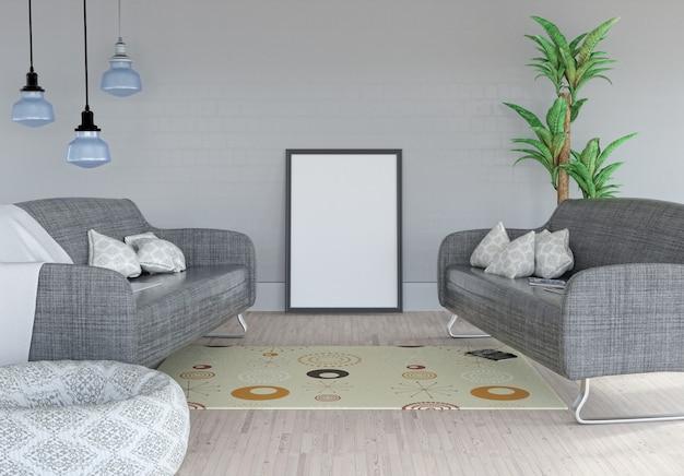 3d-рендеринг пустой картины, прислоненной к стене в интерьере комнаты Бесплатные Фотографии