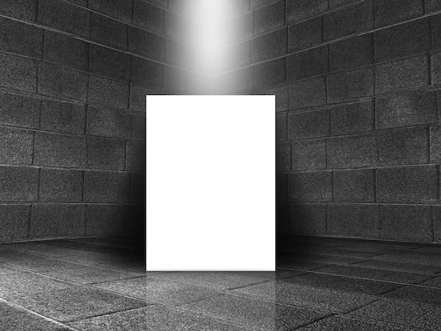 3d-рендеринг старого каменного интерьера комнаты с пустым холстом на полу Бесплатные Фотографии