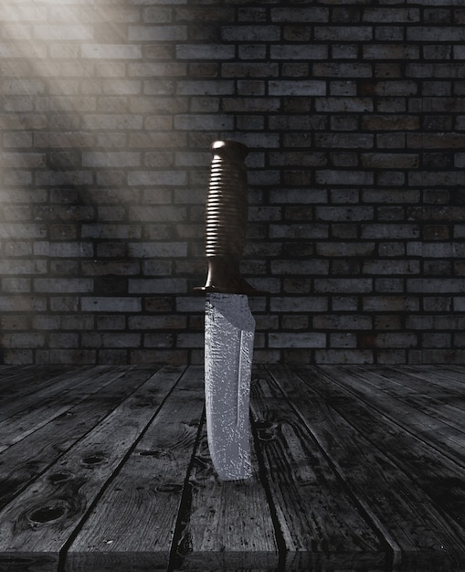 3d、ナイフ、木製、テーブル 無料写真