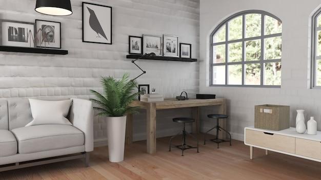現代的なオフィスインテリアの3dレンダリング 無料写真