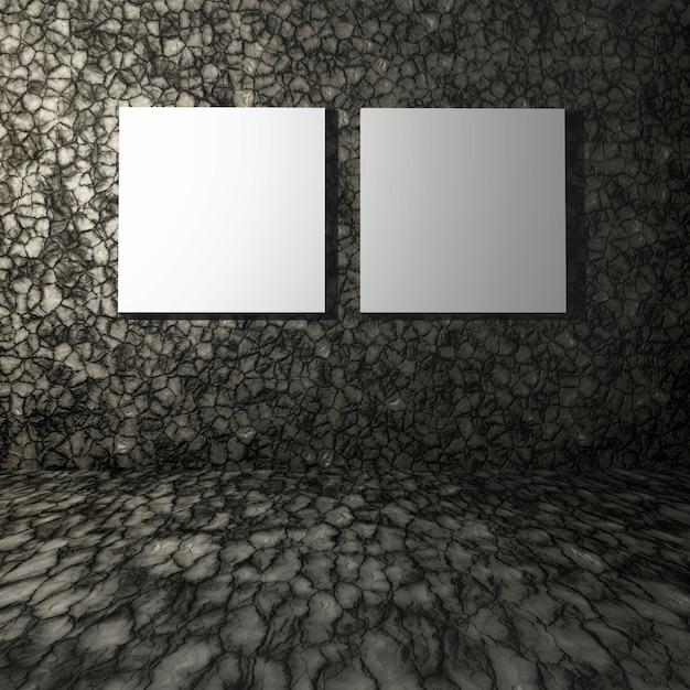 石の部屋の中の空のキャンバスの3dレンダリング内部 無料写真